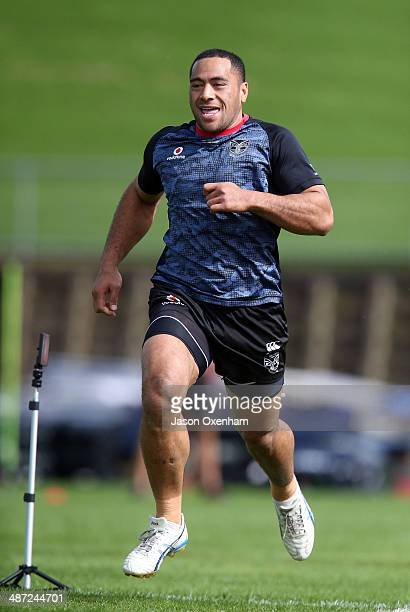 Suaia Matagi of the Warriors at full pace during the 40 metre sprint tests at New Zealand Warriors NRL training session at Mt Smart Stadium on April...