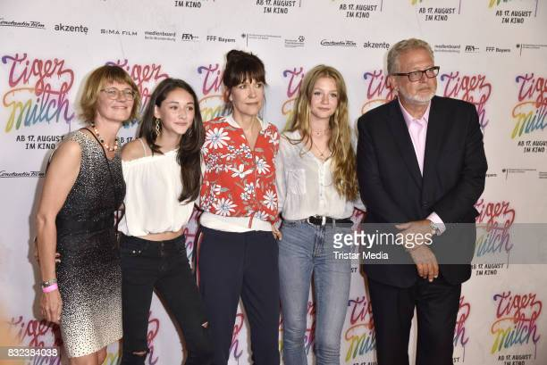 Suanne Frexer, Ute Wieland, Flora Li Thiemann, Emily Kusche, Narges Rashidi, and Martin Moszkowicz attend the 'Tigermilch' Premiere at Kino in der...