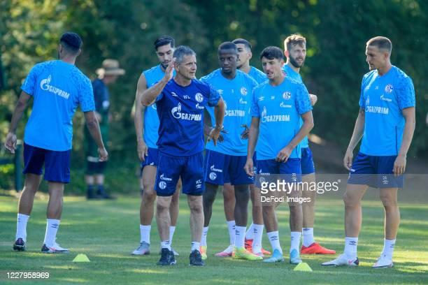Suat Serdar of FC Schalke 04, Athletic coach Werner Leuthard of FC Schalke 04, Hamza Mendyl of FC Schalke 04, Alessandro Schoepf of FC Schalke 04,...