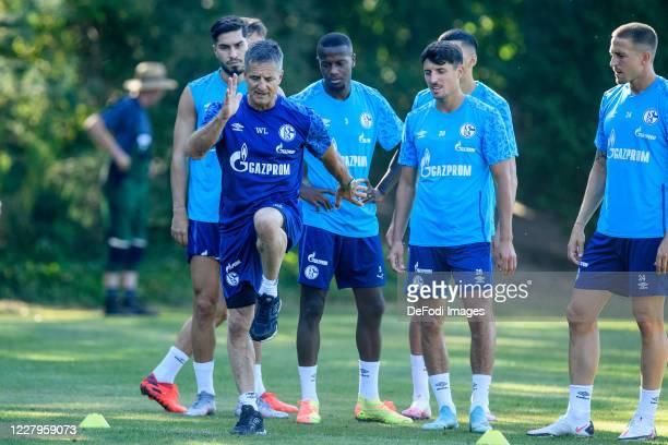 Suat Serdar of FC Schalke 04, Athletic coach Werner Leuthard of FC Schalke 04, Hamza Mendyl of FC Schalke 04, Alessandro Schoepf of FC Schalke 04 and...