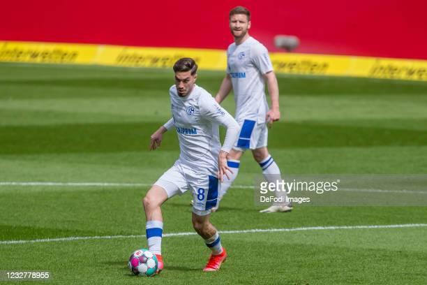 Suat Serdar of FC Schalke 04 controls the Ball during the Bundesliga match between TSG Hoffenheim and FC Schalke 04 at PreZero-Arena on May 8, 2021...