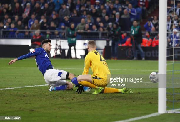 Suat Serdar of FC Schalke 04 scores his sides first goal during the Bundesliga match between FC Schalke 04 and SportClub Freiburg at VeltinsArena on...