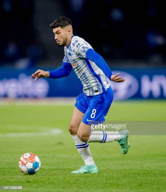 Suat Serdar of Hertha in action during the Bundesliga match between Hertha BSC and SpVgg Greuther Fürth at Olympiastadion on September 17, 2021 in...