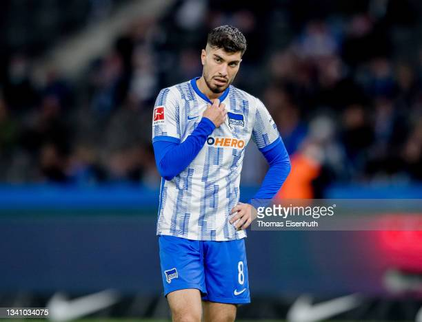 Suat Serdar of Hertha reacts during the Bundesliga match between Hertha BSC and SpVgg Greuther Fürth at Olympiastadion on September 17, 2021 in...