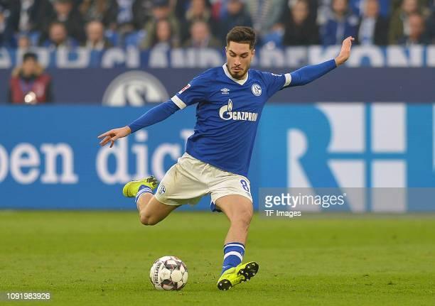 Suat Serdar of Schalke 04 shot on goal during the Bundesliga match between FC Schalke 04 and Hannover 96 at VeltinsArena on November 3 2018 in...