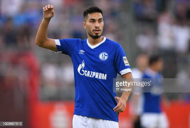 Suat Serdar of Schalke gestures during the Friendly match between Schwarz Weiss Essen and FC Schalke 04 on July 21 2018 in Essen Germany