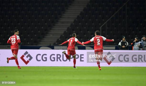 Suat Serdar, Robin Quaison and Giulio Donati of FSV Mainz 05 celebrate after scoring the 0:1 during the first Bundesliga game between Hertha BSC and...