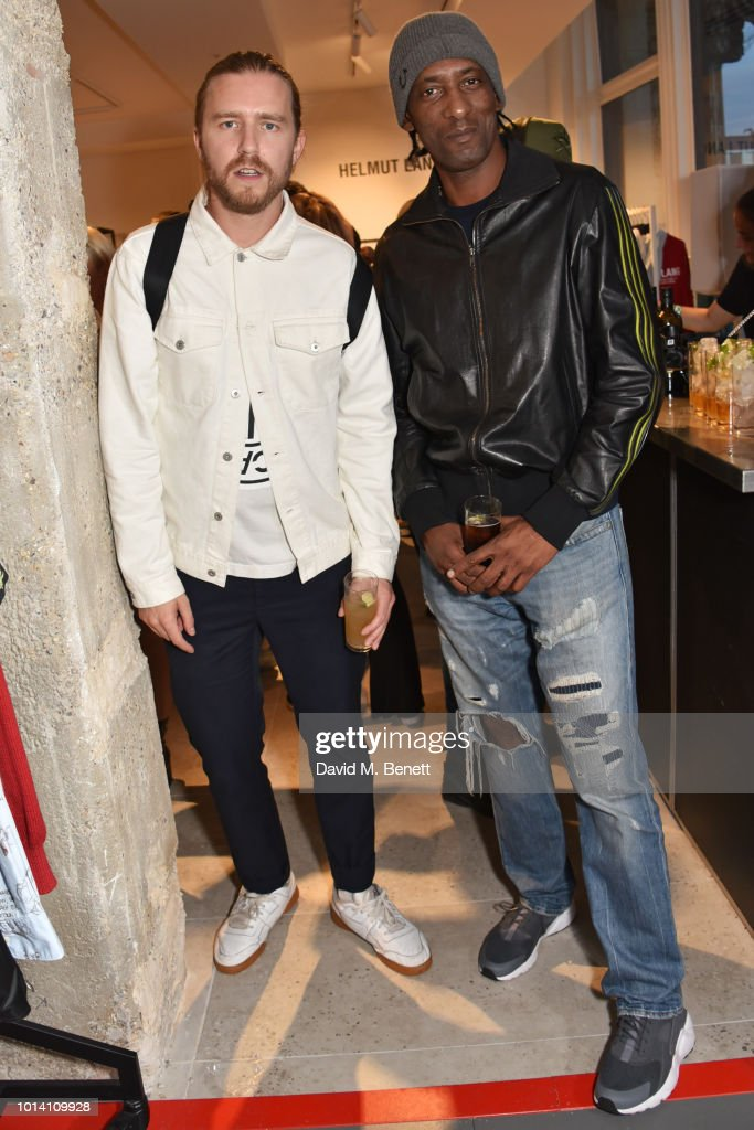 Sub Focus (L) and DJ Brockie attend the launch of 'Super Sharp Reloaded', a new installation and pop-up shop by Saul Milton and Tory Turk, presented by Selfridges and Reebok at Selfridges on August 9, 2018 in London, England.