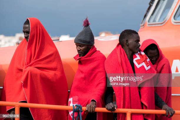 Sub Saharan migrants waiting to leave the Hamal rescue boat during their arrival to Motril 50 men and 5 women were rescued in Alboran Sea from a...