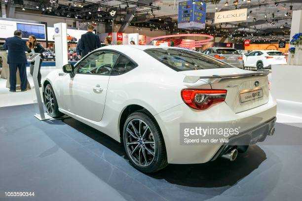 Subaru BRZ compact coupe sports car on display at Brussels Expo on January 13, 2017 in Brussels, Belgium. The BRZ is also marketed as Toyota 86 and...