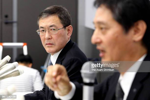 Subaru Corp President and CEO Yasuyuki Yoshinaga attends a press conference on October 27 2017 in Tokyo Japan Subaru let uncertified workers at its...