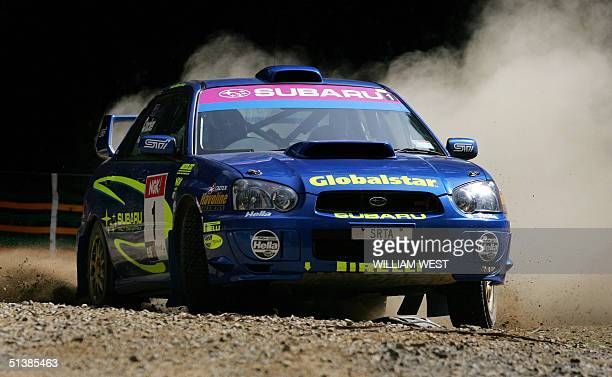 Subaru driver Cody Crocker slides his way to victory in the Rally of Melbourne 03 October 2004 Crocker won yesterday's heat and finished second in...