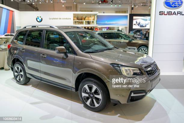Subaru Forester SUV front view on display at Brussels Expo on January 13, 2017 in Brussels, Belgium. The Subaru Forester is available with different...