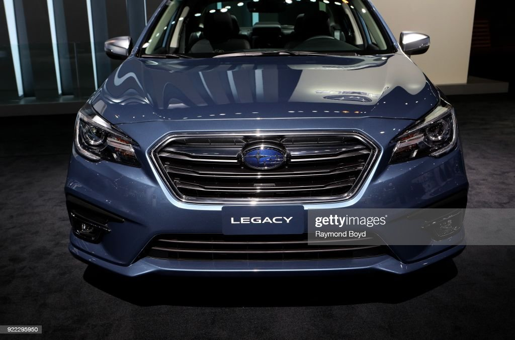 Subaru Legacy is on display at the 110th Annual Chicago Auto Show at McCormick Place in Chicago, Illinois on February 9, 2018.