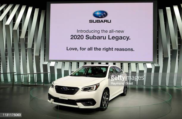 Subaru Legacy is on display at the 111th Annual Chicago Auto Show at McCormick Place in Chicago, Illinois on February 8, 2019.