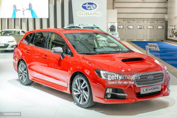 Subaru Levorg station wagon performance car in bright red on display at Brussels Expo on January 13, 2017 in Brussels, Belgium. The Levorg is...