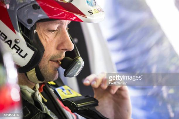Subaru Rally Team driver Travis Pastrana buckles himself in before Asaph stage on June 3 2017 at day 2 of the Susquehannock Trail Performance Rally...