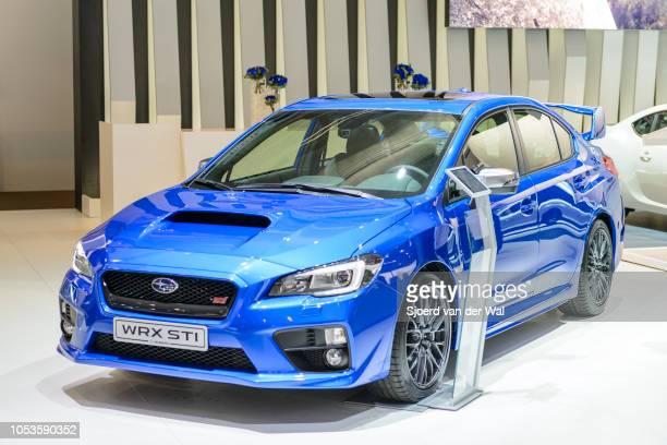 Subaru WRX STI high performance sedan on display at Brussels Expo on January 13, 2017 in Brussels, Belgium. The WRX STI is based on the Subaru...