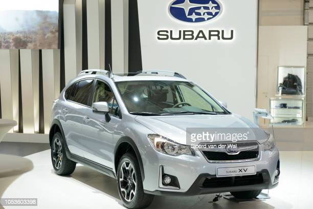 Subaru XV crossover SUV front view on display at Brussels Expo on January 13, 2017 in Brussels, Belgium. The Subaru XV is available with different...