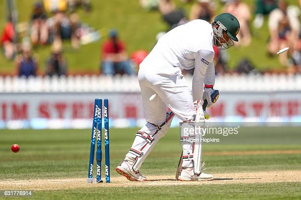 Subashis Roy of Bangladesh is bowled out by Trent Boult of New Zealand during day five of the First Test match between New Zealand and Bangladesh at...