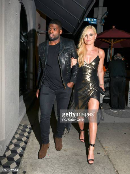 K Subban and Lindsey Vonn are seen on July 12 2018 in Los Angeles California