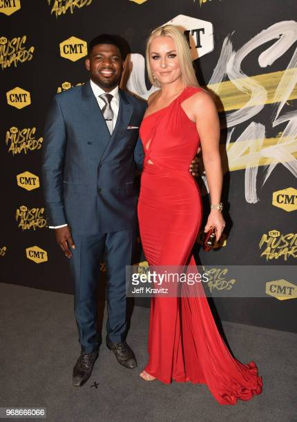 K Subban and Lindsey Vonn attend the 2018 CMT Music Awards at Bridgestone Arena on June 6 2018 in Nashville Tennessee
