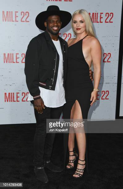 K Subban and Lindsey Vonn attend the premiere of STX Films' 'Mile 22' at Westwood Village Theatre on August 9 2018 in Westwood California