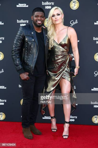K Subban and Lindsey Vonn attend the Sports Illustrated Fashionable 50 on July 12 2018 in West Hollywood California