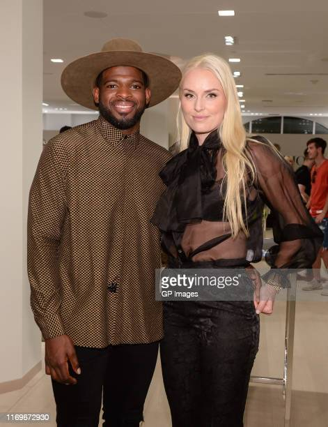 K Subban and Lindsey Vonn attend the The PK Subban Foundation event during #PKSFWEEKMTL held at Holt Renfrew Ogilvy on August 22 2019 in Montreal...