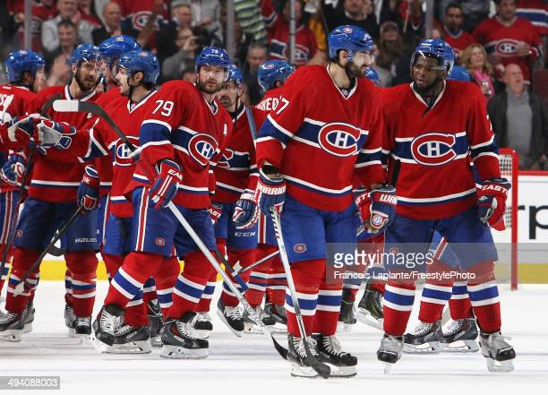 K Subban and Max Pacioretty of the Montreal Canadiens celebrates after defeating the New York Rangers during Game Five of the Eastern Conference...