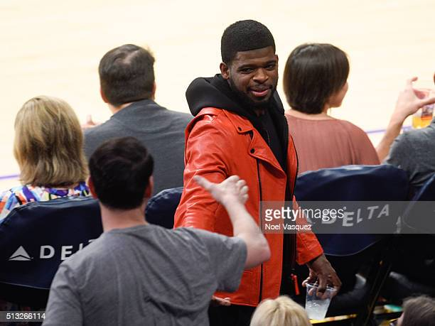 K Subban attends a basketball game between the Brooklyn Nets and the Los Angeles Lakers at Staples Center on March 1 2016 in Los Angeles California