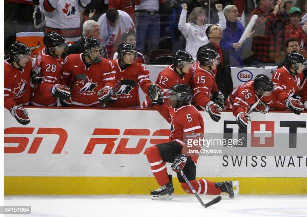 Subban of Team Canada celebrates a goal against Team USA during the IIHF World Junior Championships held at Scotiabank Place on December 31, 2008 in...