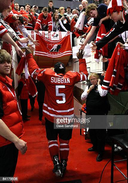 K Subban of Team Canada celebrates as he leaves the ice after defeating Team Sweden during the 2009 IIHF World Junior Championships held at...