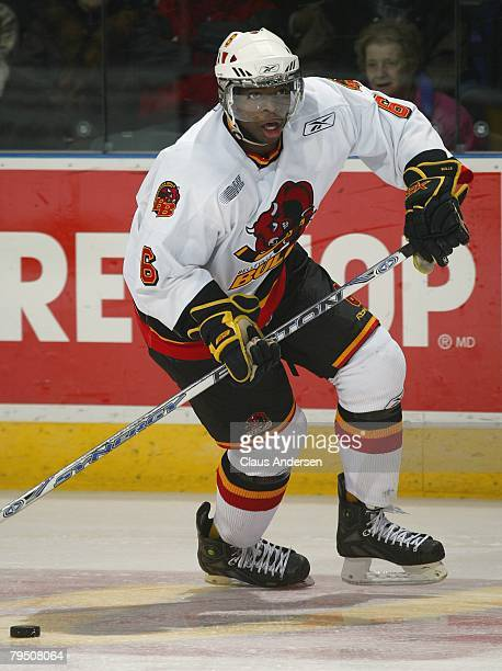 Subban of the Belleville Bulls skates up ice with the puck in a game against the London Knights on February 1, 2008 at the John Labatt Centre in...