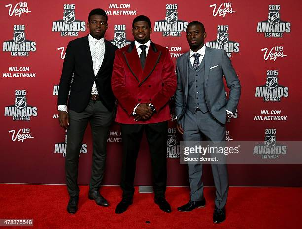 K Subban of the Montreal Canadiens and brother's Malcolm Subban and Jordan Subban arrives on the red carpet before the 2015 NHL Awards at MGM Grand...