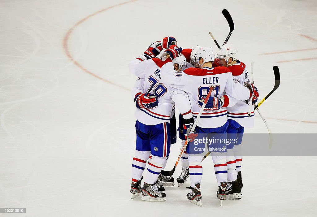 P.K. Subban #76 of the Montreal Canadiens celebrates with teammates after scoring a goal against the Carolina Hurricanes during the third period at PNC Arena on March 7, 2013 in Raleigh, North Carolina. The Canadiens won 4-2.