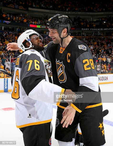 K Subban of the Montreal Canadiens greets John Scott of the Arizona Coyotes after the 2016 Honda NHL AllStar Final Game between the Eastern...