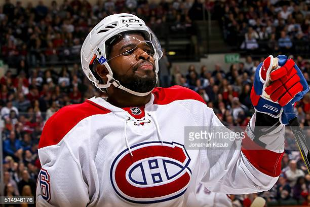 K Subban of the Montreal Canadiens looks on during a second period stoppage in play against the Winnipeg Jets at the MTS Centre on March 5 2016 in...