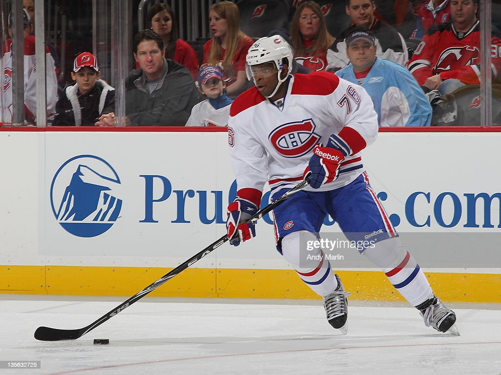 38ba1fd22a3 P.K. Subban of the Montreal Canadiens plays the puck during the game ...