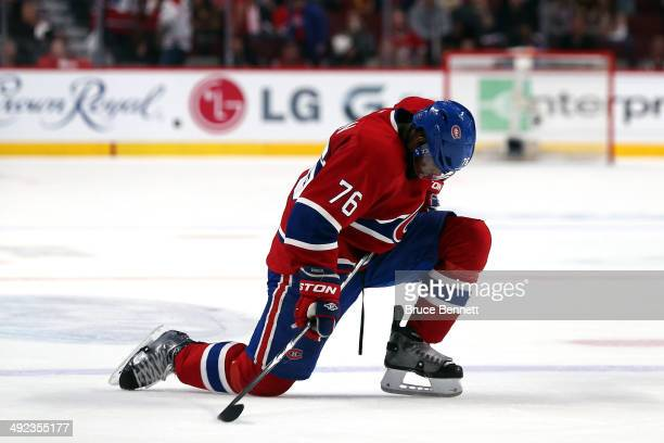 K Subban of the Montreal Canadiens reacts on the ice late in the third period in Game Two of the Eastern Conference Final against the New York...