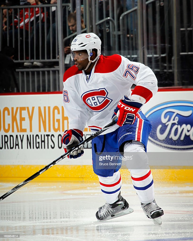 a9021374c10 P.K. Subban of the Montreal Canadiens skates against the New Jersey ...