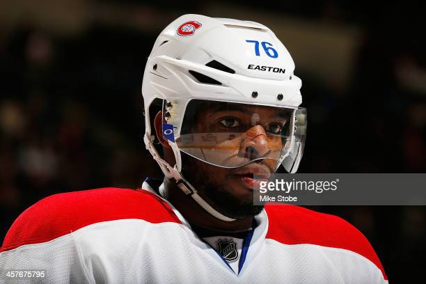 Subban of the Montreal Canadiens skates against the New York Islanders at Nassau Veterans Memorial Coliseum on December 14, 2013 in Uniondale, New...