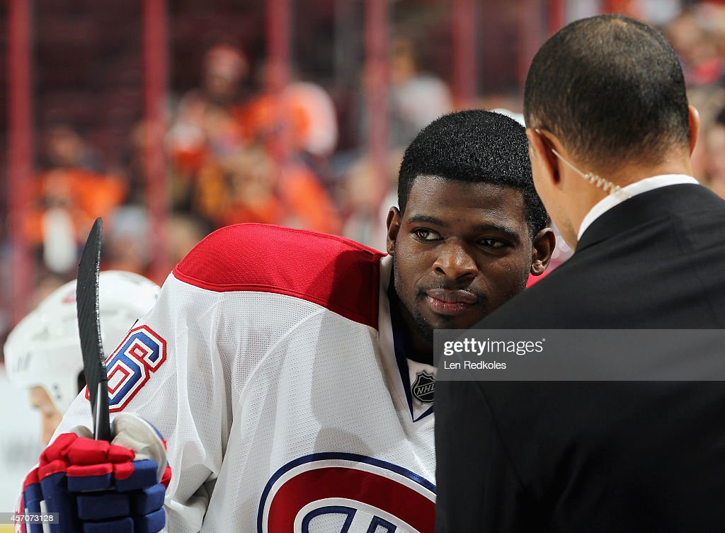 P.K. Subban #76 of the Montreal Canadiens speaks to a member of the media during warmups prior to his game against the Philadelphia Flyers on October 11, 2014 at the Wells Fargo Center in Philadelphia, Pennsylvania.