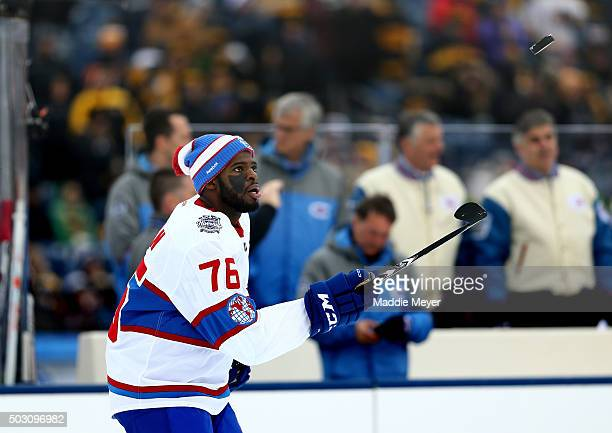 K Subban of the Montreal Canadiens warms up prior to the 2016 Bridgestone NHL Winter Classic against the Boston Bruins at Gillette Stadium on January...