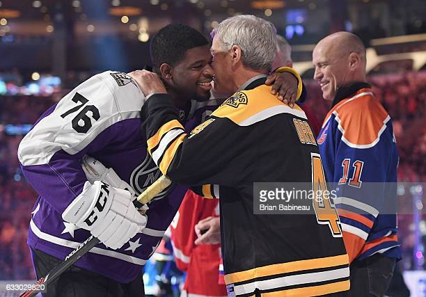 K Subban of the Nashville Predators and former NHL player Bobby Orr greet one another prior to the 2017 Honda NHL AllStar Game at Staples Center on...