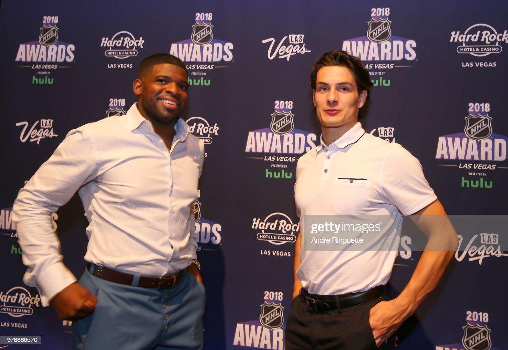 P.K. Subban of the Nashville Predators (L) and Mathew Barzal of the New York Islanders attend media availability at the Hard Rock Hotel & Casino on June 19, 2018 in Las Vegas, Nevada.