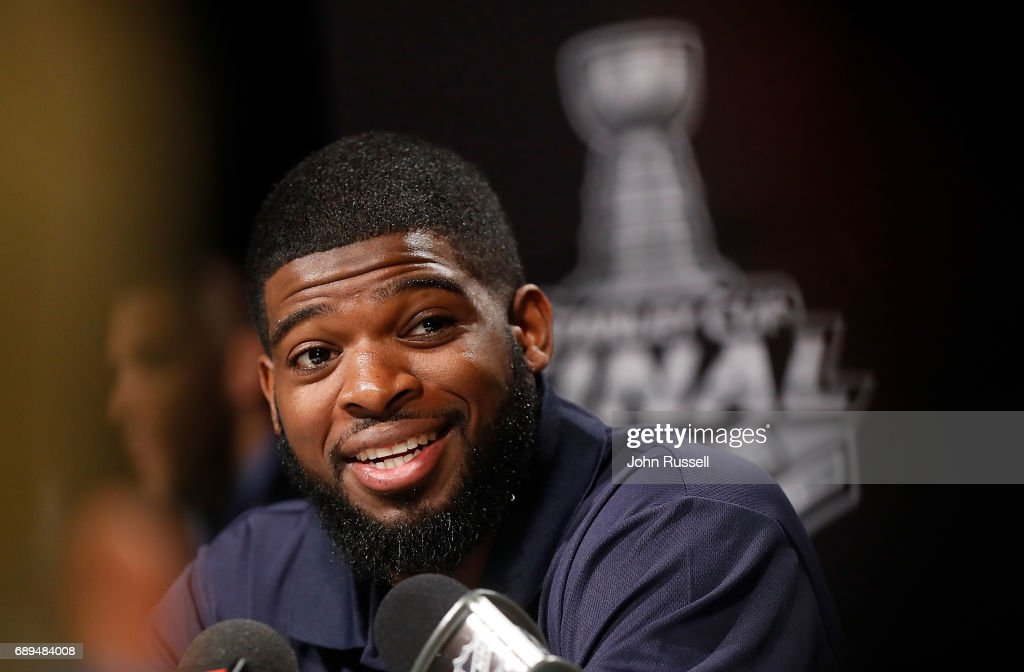 P.K. Subban #76 of the Nashville Predators answers a question during Media Day for the 2017 NHL Stanley Cup Final at PPG Paints Arena on May 28, 2017 in Pittsburgh, Pennsylvania.