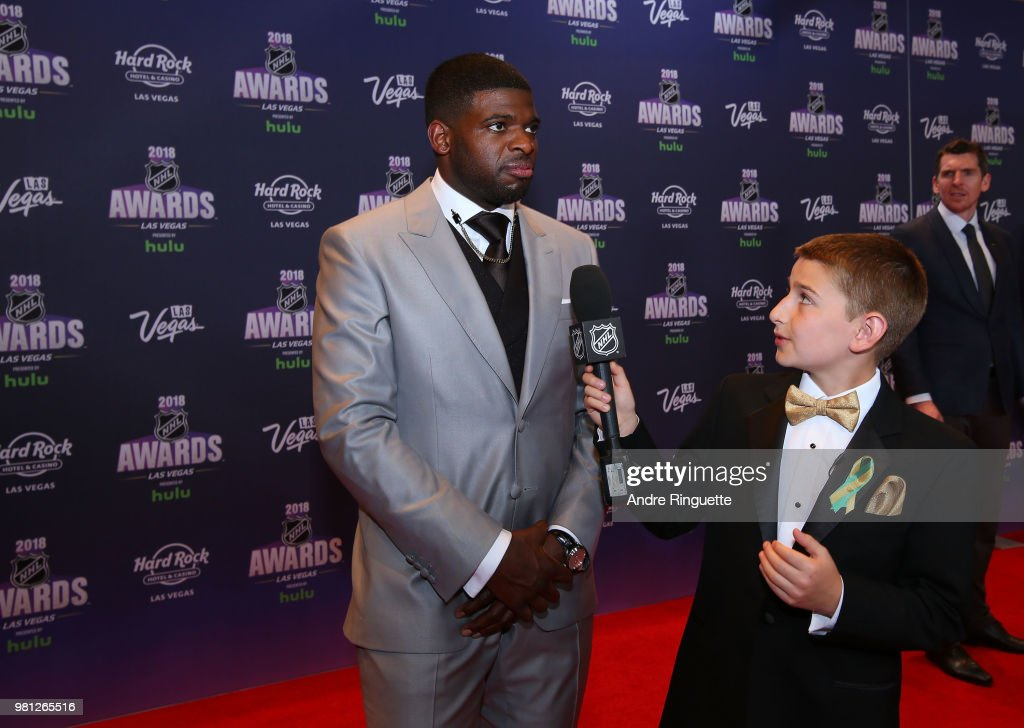 P.K. Subban of the Nashville Predators arrives at the 2018 NHL Awards presented by Hulu at the Hard Rock Hotel & Casino on June 20, 2018 in Las Vegas, Nevada.