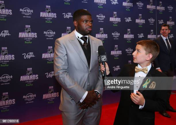 K Subban of the Nashville Predators arrives at the 2018 NHL Awards presented by Hulu at the Hard Rock Hotel Casino on June 20 2018 in Las Vegas Nevada