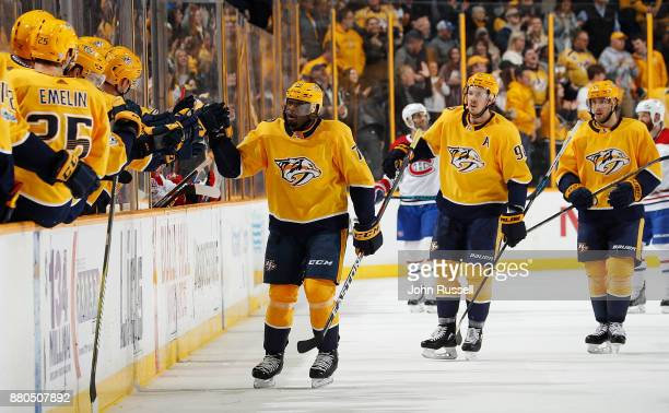 K Subban of the Nashville Predators celebrates a goal against the Montreal Canadiens during an NHL game at Bridgestone Arena on November 22 2017 in...
